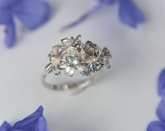 Forget me not ring in sterling silver with blue topazes, bouquet ring, unique floral jewelry, romantic gift for woman, nature proposal ring