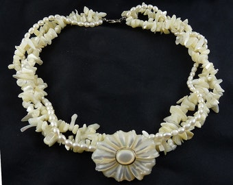 3 -Strand Pearl, Mother of Pearl & Sterling Torsade Necklace with Flower Pendant