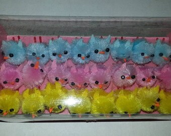 24 SMALL Spring Easter Chenille Chicks-8 blue, 8 pink, 8 yellow - 3/4 in. x 1/2 in. x 3/4 in.
