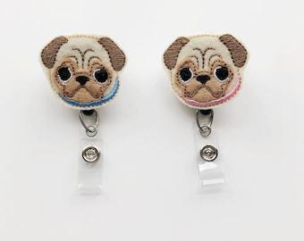 Dog badge reel, pug badge reel, nurse badge reel, nursing badge reel, badge reel, retractable badge, vet Gift, Vet Tech, name badge