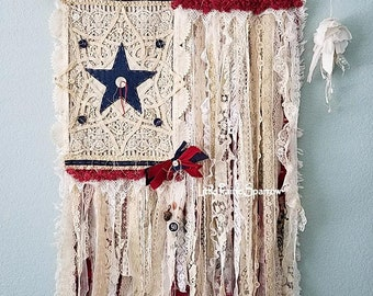 Flag, American Flag, Tattered Rag Flag, Shabby Chic Flag, Farmhouse Style, 4th of July Decor, Rustic Flag, Flag Tapestry, Red White and Blue