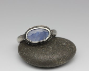 Rose Cut Sapphire Ring, Sterling and Sapphire Ring, Cornflower Blue, Natural Sapphire, Size 7