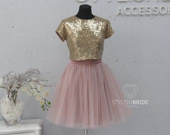 NEW! Dress Tulle Set SEQUIN TOP and Gold Tulle skirt, pink sequin top Bridesmaids Dress sequined top, Party Tulle Blush Pink Blue Grey Skirt
