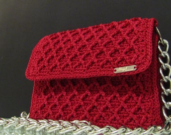 Crochet handmade bag, Bordeaux diamond bag with nickel chain