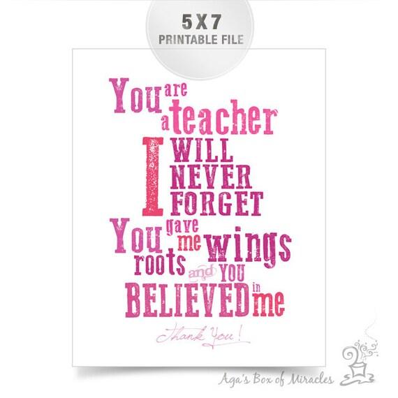 5x7 Pink Teacher Appreciation Printable JPEG / Thank You