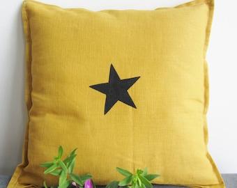 Mustard, printed linen cushion star. Flea market style