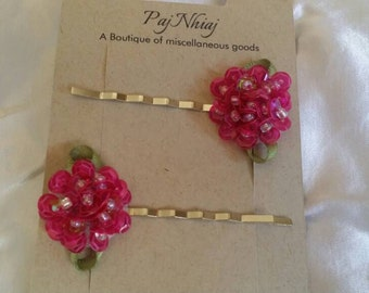 Pink Flower Hairpin
