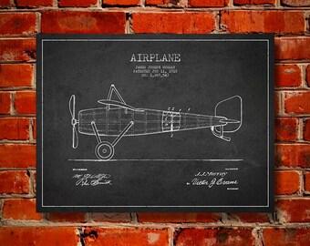 1918 Airplane Patent, Canvas Print, Wall Art, Home Decor, Gift Idea