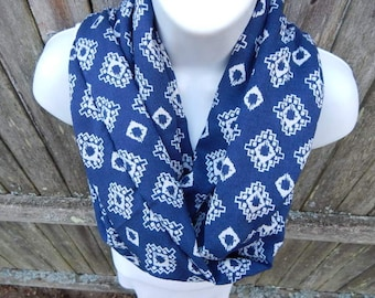 Navy Blue and White Diamond Infinity Scarf