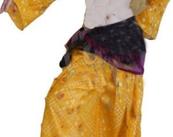 Saffron Tribal Gypsy ATS Lurex Boho Bandhani Pantaloon Set~