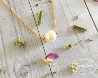 Swarovski Cream Pearl, gold pearl necklace, cream pearl necklace, bridesmaid necklace, gold necklace, made in Italy, handmade, wedding gift