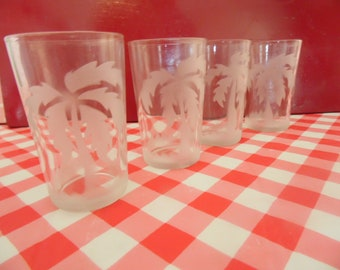 Frosted Juice Glases - Palm Trees - Federal Glassware - 4 Oz - Set Of 4