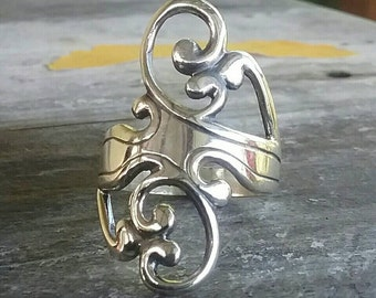 sterling silver scroll  ring alternative steampunk gothic art nouveau