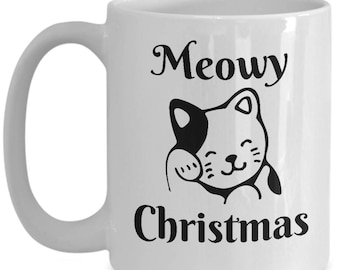 Cat Mug - Meowy Christmas - Merry Christmas Cat Ceramic Cup - Gift For Cat Lover, Friend, Her, Him - Funny Coffee Mug - Cat Gifts