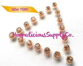 BEST Quality 25pc Gold 8mm Prong Studs w/Silver Rhinestone. Perfect 4 Leather.Shoes.Shirts.Shorts.Customize ur clothing.Ships from USA.