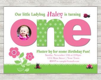 Ladybug 1st Birthday Invitation, Pink Ladybug Invitation - Digital File (Printing Services Available)