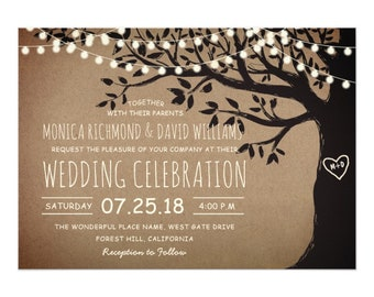 String Lights Carved Heart Tree Country Rustic Vintage Wedding Invitation Template, Printable Invite, Editable Download | DIGITAL or PRINTED