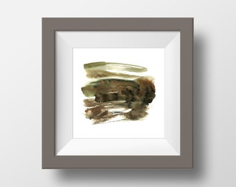 Abstract Earth Textures, Watercolor Art Print #1, Brown, Green, Textured, Modern Wall Art, Home Decor, Minimalism, Earth Tones, Square art