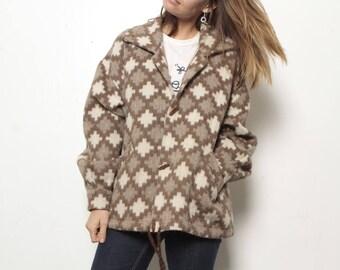 vintage parka fleece ALPACA warm cozy WINTER cardigan sweater jacket