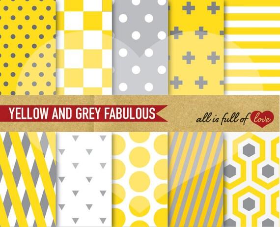 Digital Paper Pack Yellow And Grey Geometric Printable Set Fabulous