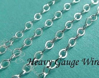 Sterling Silver Flat Cable Chain UPGRADE 6 Ft- 2.2x1.7mm