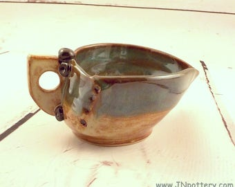 Gravy Boat - Ceramic Sauce Bowl - Stoneware Pouring Bowl - Spouted Dish - Syrup Pitcher - Shino Brown and Sea Green - Ready to Ship  s529