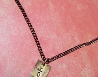 Copper Colored Hand Stamped LOVE Necklace