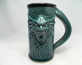 Beer Stein, Featuring a Vampire Gargoyle and Tribal Carvings, Teal, Dinnerware Mug, Bar Drinkware, Renaissance Festival Mug, Goth Stein