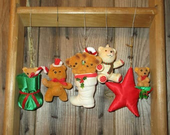 Lot of VTG Flocking Christmas Teddy Bears, Ornaments