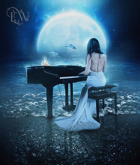 fantasy woman playing piano by the sea art print