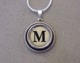 Cream M Typewriter key necklace Jewelry Typewriter key Initial necklace Initial M Steampunk recycled jewelry