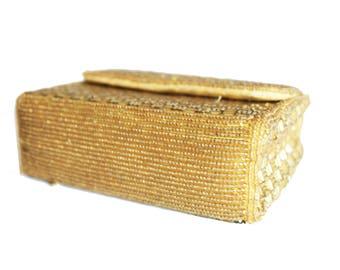 Vintage handmade Magid square gold bead bag.