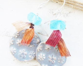 Rustic Ceramic Flower Silver Earrings Recycled Glass Fibers