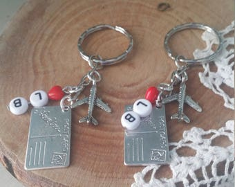 Long distance best friends cousins sisters custom initials postcard and airplane keychain set