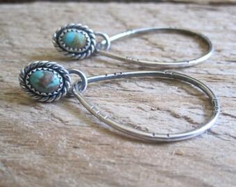 Turquoise Hoop Earrings, Southwestern Earrings, Boho Earrings, Bohemian Hoops, Stamped Hoops