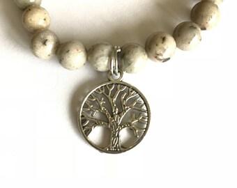 Tree of Life Charm Bracelet Grey Feldspar Beaded Bracelet