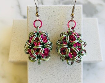 1 Pair of Pink and Seafoam Chainmaille Pendant Earrings