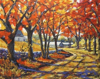 Country Lane Sentinals  - Large Autumn Landscape - Original Oil Painting Created by Prankearts