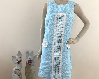 Vintage 60s Blue Floral Shift Dress L/XL