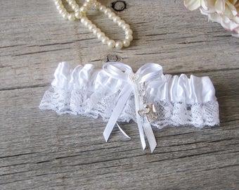 Bridal Garter, Garter Belt Set, Garter Belt Charm, Wedding Garter, Wedding Lingerie, White Lace Garter, Something Blue Angel Charm Garter
