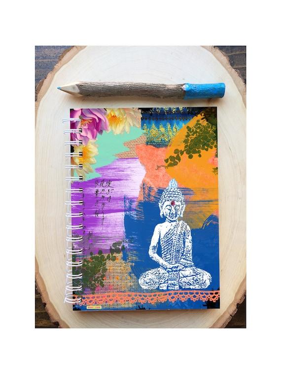Buddha Spiral Bound Notebook - Colorful Yoga Journal  - Hard Notebook - Spiral Journal - Back to School - Gift - Buddha  - Yoga Lover Gift