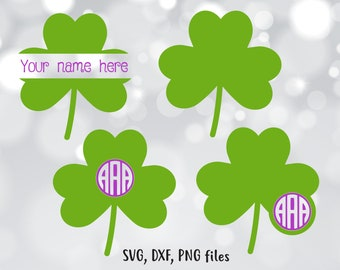 St Patrick's day svg, Shamrock SVG, Monogram DXF, Custom Cut File, Shamrock clip art, Clover PNG, Clover svg design, Saint Patrick's day svg