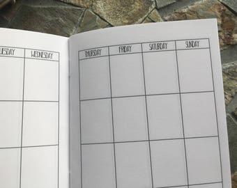 MONTHLY Standard Traveler's Notebook Planner Insert Undated [1 YEAR]