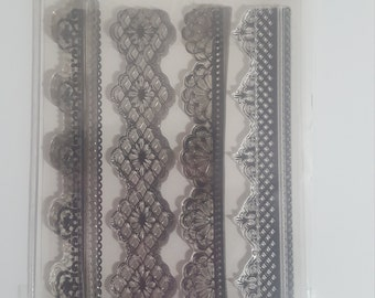 Just Rite clear Lace edge One border stamps