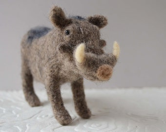 Wamu the Warthog, needle felted pig animal fiber art sculpture