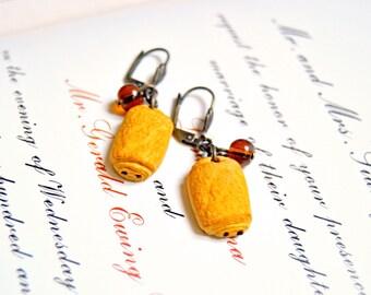 Handmade polymer pains au chocolat earrings - Miniature food jewelry, miniature food earrings, pastry earrings