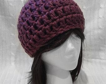 Chunky Plum Crochet Winter Hat