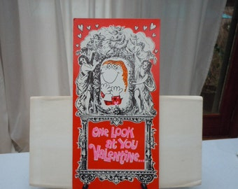 "Vintage 60's  Large -""VALENTINE""  Card  "" One Look and I Fell"" -New Old Stock  Norcross Card's-   15"" Long"
