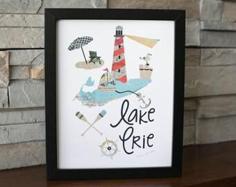Lake Erie Print Lighthouse scene