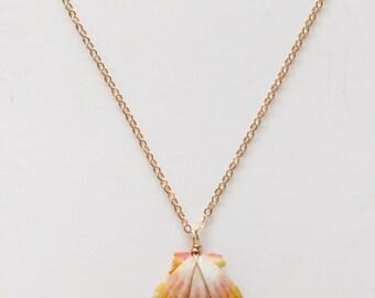 """Hawaiian Sunrise Shell Necklace, 18"""" 14k Gold fill chain"""